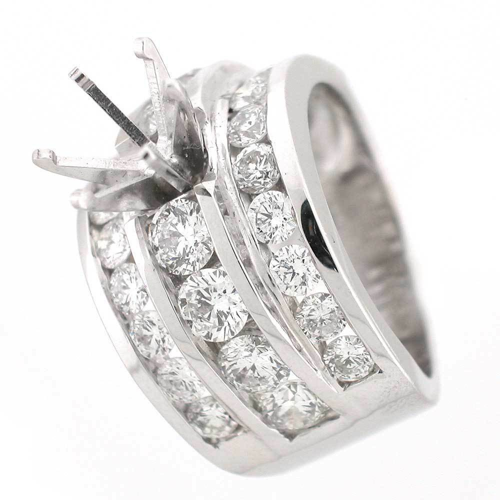 14k white gold semi mount ring setting 3 72 tcw