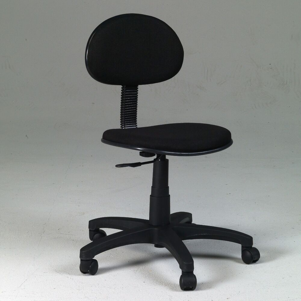 basic desk height office task black chair swivel mobile computer short cheap ebay. Black Bedroom Furniture Sets. Home Design Ideas