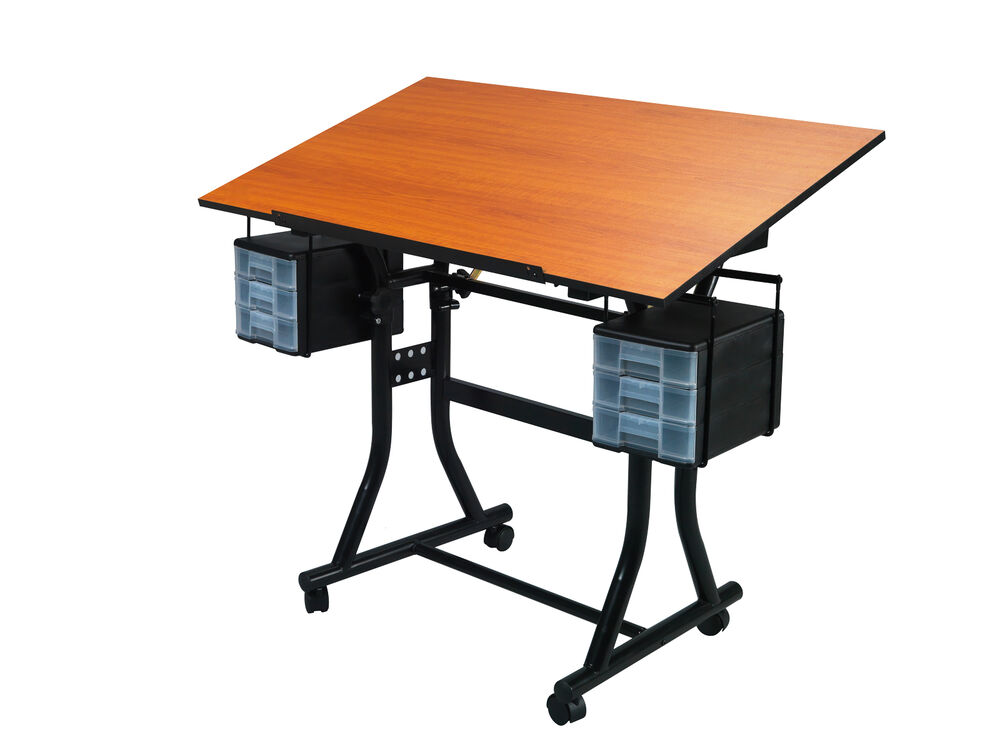 Black Hobby Craft Table Desk W 6 Drawers Drawing Art