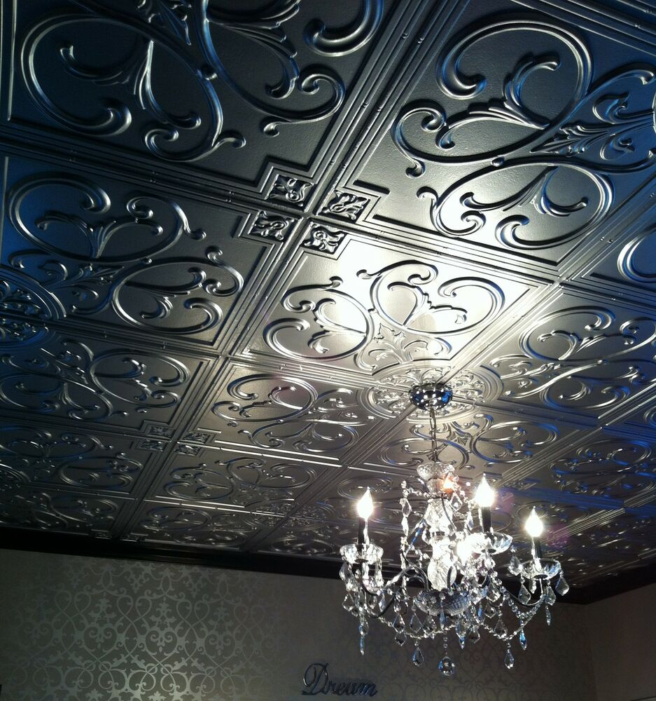 3d embossed faux tin ceiling tile 204 silver drop in - Can you wallpaper drop ceiling tiles ...