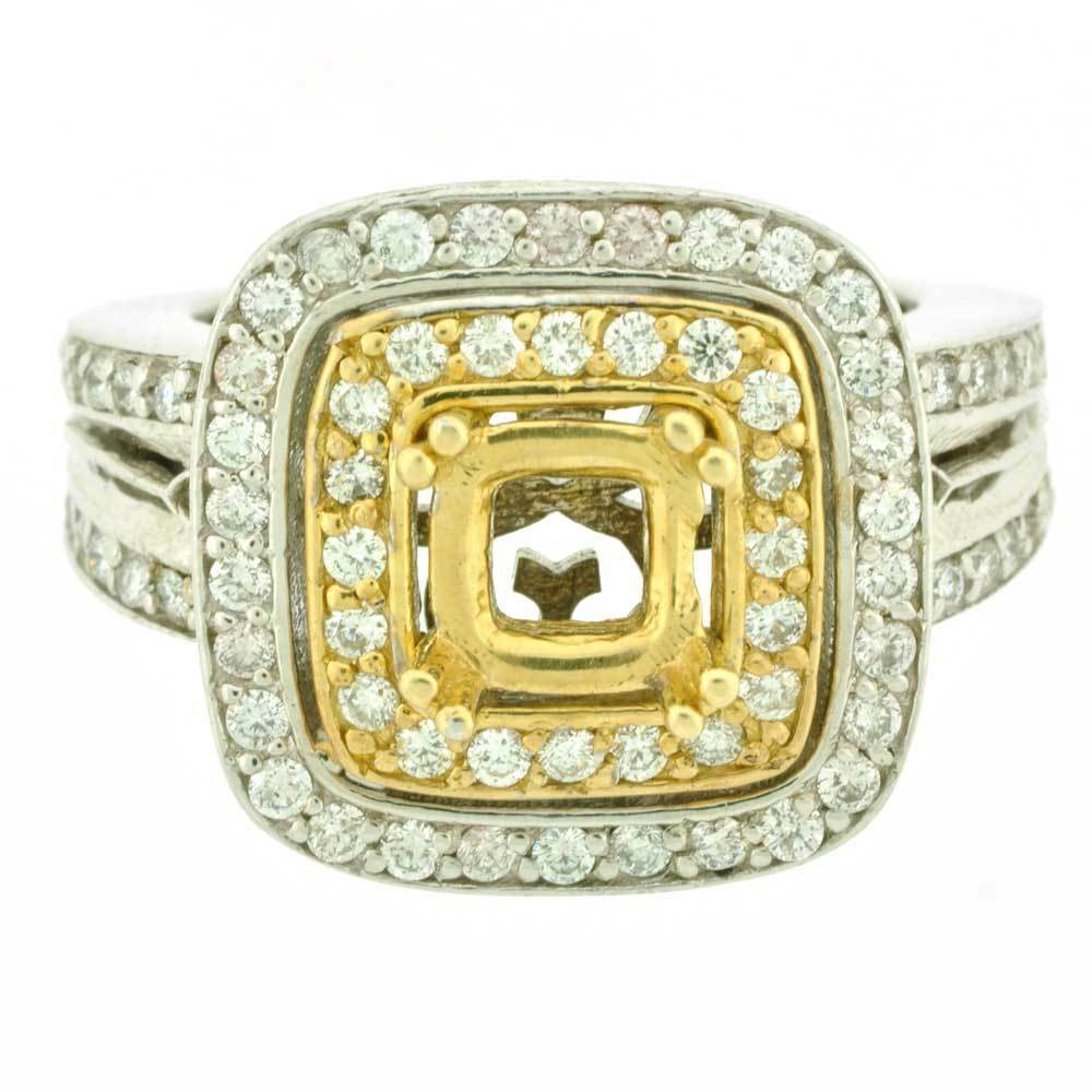 14k Double Halo Diamond Semi Mount Two Tone Ring Setting 1