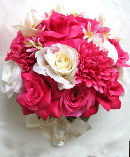 wedding bouquet bridal silk flowers fuchsia ivory pink orchid 17pc package ebay. Black Bedroom Furniture Sets. Home Design Ideas