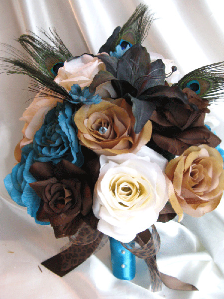 turquoise wedding flowers wedding bouquet bridal silk flowers brown turquoise 8122