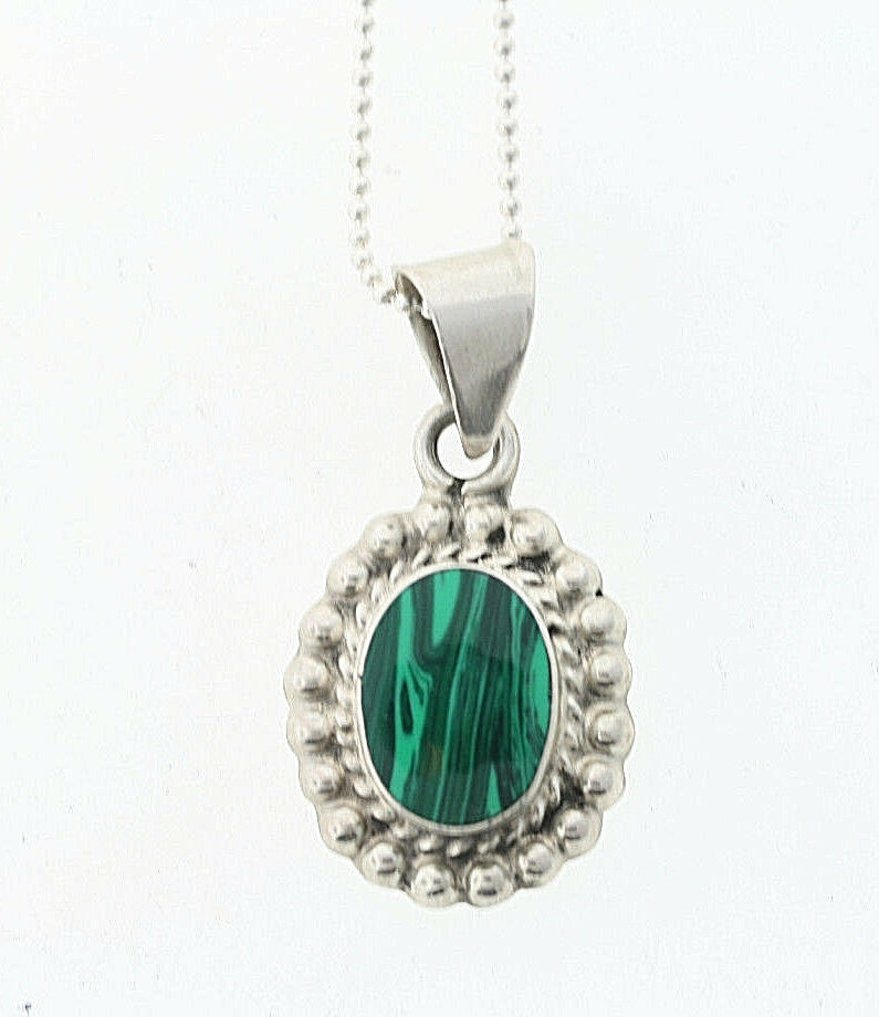 Mexican Sterling Silver Malachite Necklace With Pendant Ebay