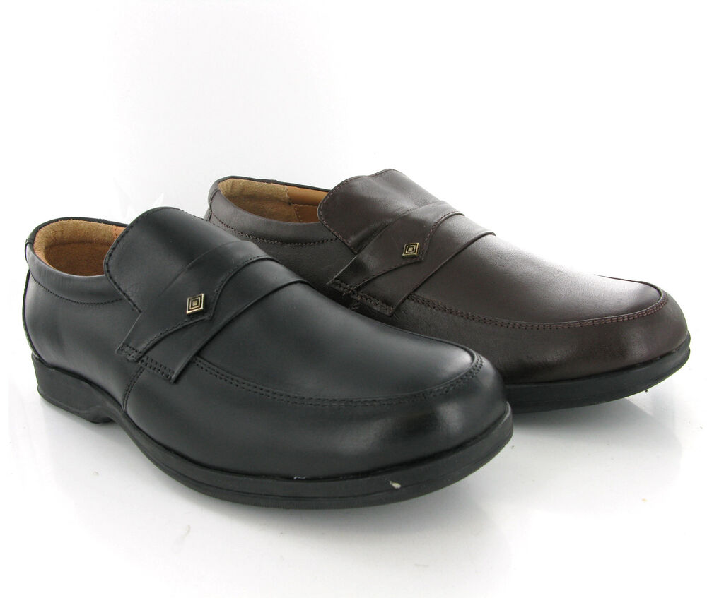 leather slip on mens black or brown casual formal shoes