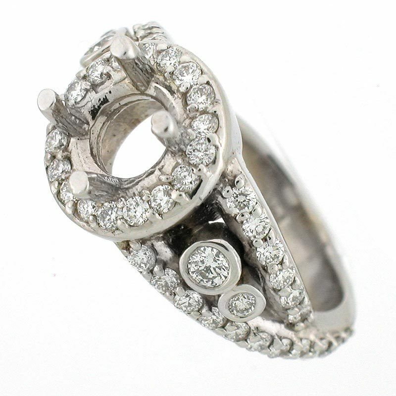 14k antique style diamond semi mount engagement ring for Vintage wedding ring settings