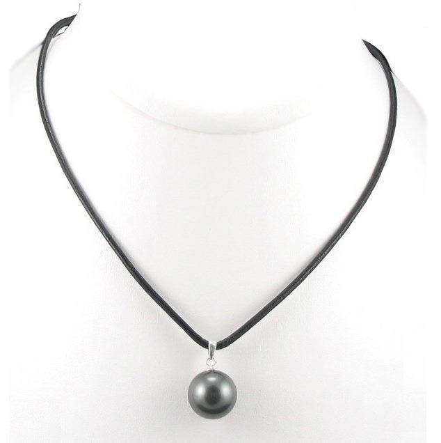 "Tahitian Pearl And Leather Necklace: 18"" 13-14mm Top Quality Tahitian Black Pearl Leather Cord"
