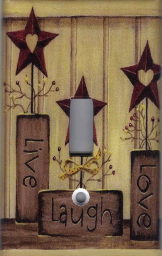 country barn star live love laugh home wall decor light switch plate cover ebay. Black Bedroom Furniture Sets. Home Design Ideas
