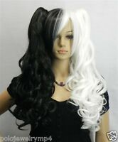 New Cosplay black white Mixed curly Split type Heat Resistant wig