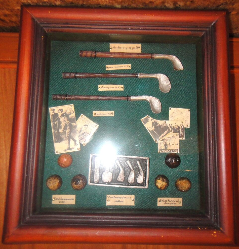 The History Of Golf Wooden Shadow Box W Glass Top 9 50 Quot L
