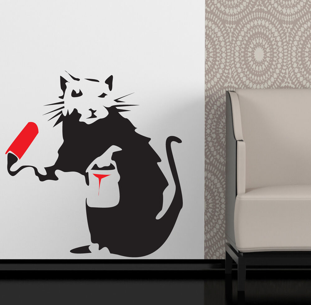 Banksy style painting rat wall art sticker decal ebay for Banksy rat mural