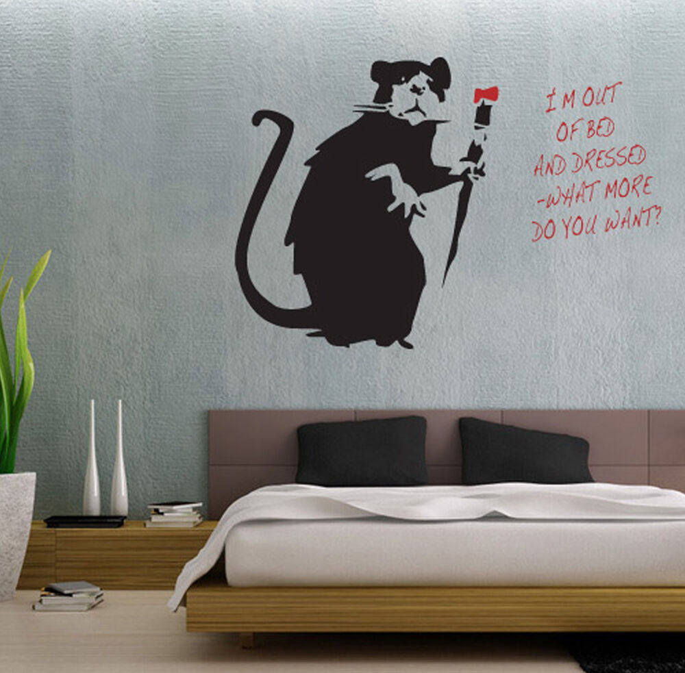 Banksy style i 39 m out of bed painting rat wall art sticker for Banksy rat mural