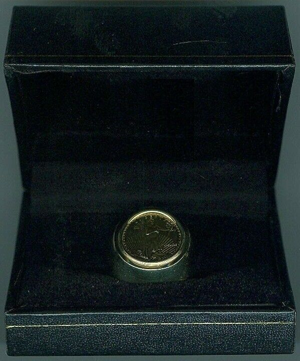 Mens 13 7 Gram 14k Yellow Gold American Eagle Coin Ring Ebay