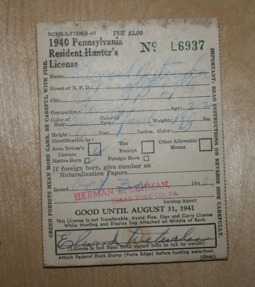 Vintage 1940 pennsylvania hunting license used ebay for Pa fishing licenses
