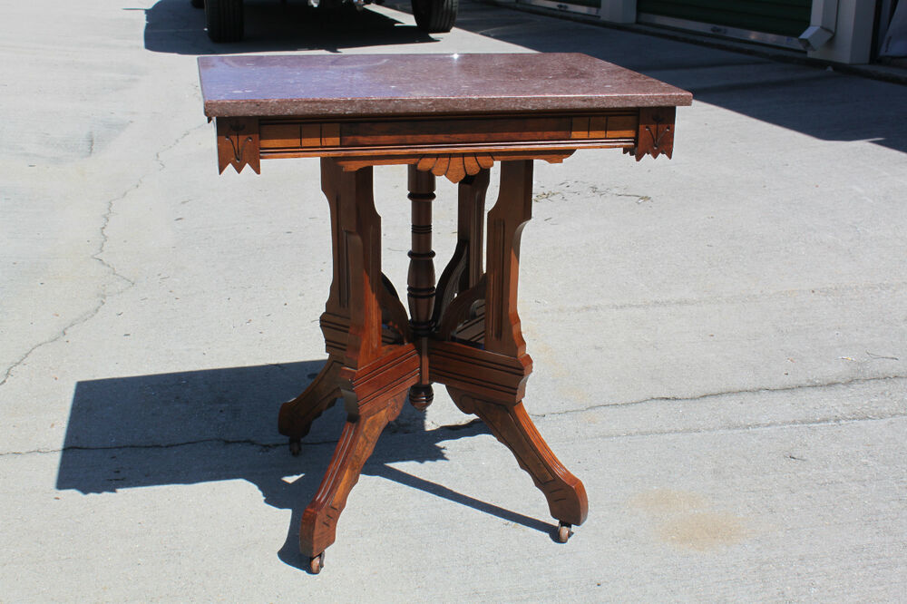 Walnut Victorian Aesthetic Period Marble Top Parlor Table