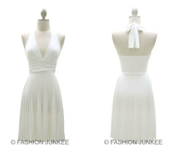 White Marilyn Dress Pleated Low Cut V Neck Halter Cocktail