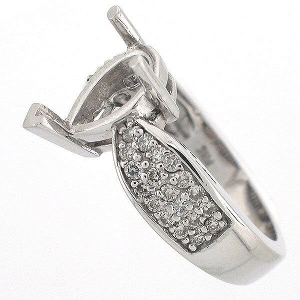 14k White Gold Semi Mount Diamond Ring Setting 0 59 CTS Pear Shaped Mountin