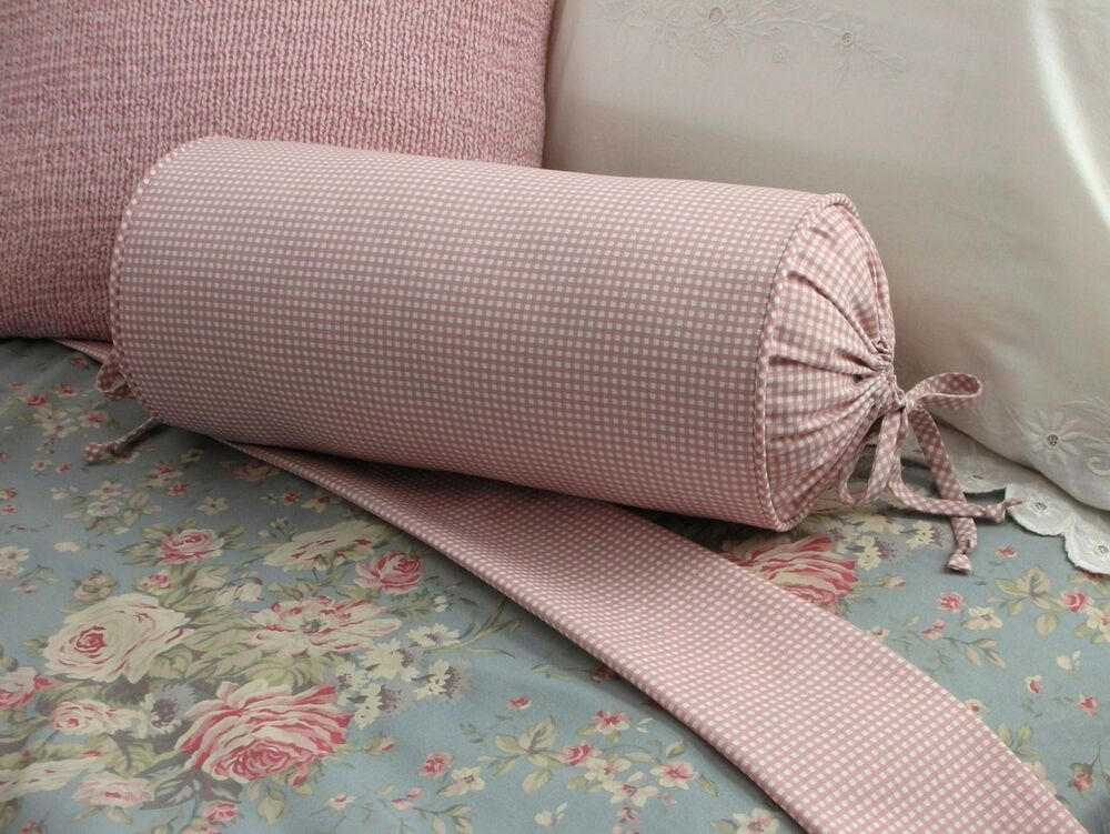 Decorative Bed Roll Pillows : NEW Custom Ralph Lauren Gwen Gingham Neckroll Pillow Rose Pink Neck Roll eBay