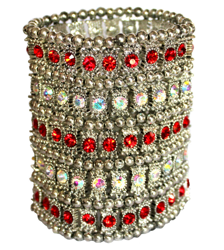 Silver Band Bracelet: Wide Band Crystal Silver Bead Cuff Arm Chunky Woman