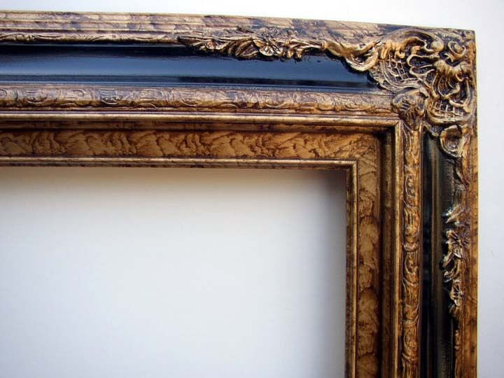 Picture Frame Antiqued Gold With Black Accent Bar Fits 24