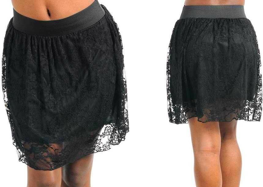 New Elastic Waist Band Slip-On Above Knee Short Mini Lace Skirt Black Juniors M | eBay