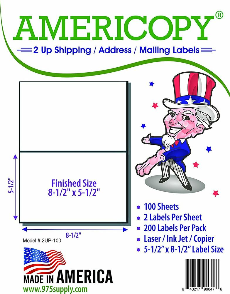 2 000 half sheet labels 8 5 x 5 5 for 2 up template self adhesive ebay. Black Bedroom Furniture Sets. Home Design Ideas