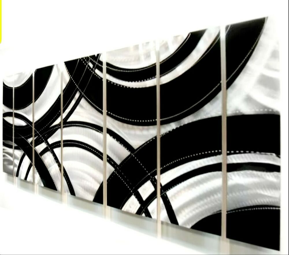 Modern silver black abstract metal wall art painting for Modern black and white wall art