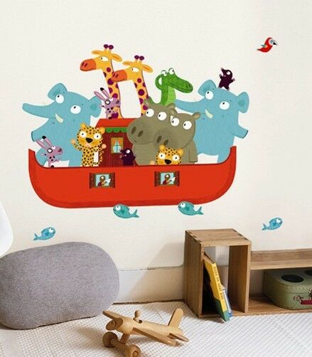 Wandtattoo arche noah wandsticker tiere kinderzimmer home sticker aufkleber deko ebay for Deko sticker kinderzimmer