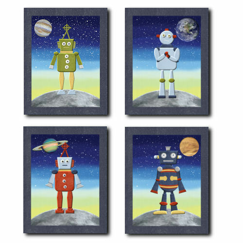 Outer space robots wall art for nursery children kids for Outer space decor for nursery