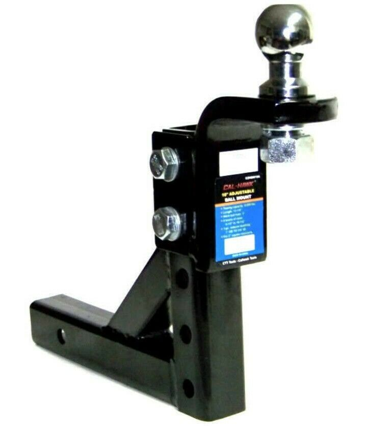 """Adjustable Trailer 10"""" Drop Hitch Ball Mount 2"""" Receiver With 2-5/16"""" hitch ball 