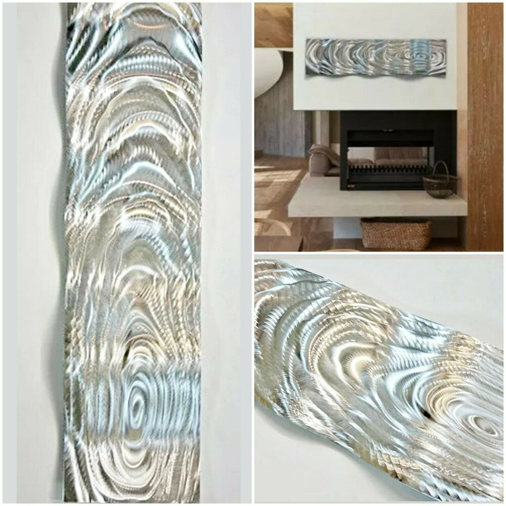 Modern abstract silver wave metal wall art sculpture home for Silver wall art