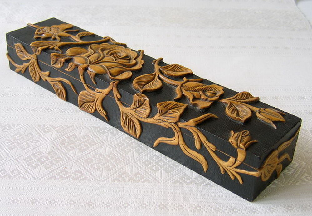Stone Carving Decorative Box Rose Design Hand Carved