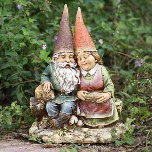 Gnome Garden: GNOME Loving Couple Wife On Bench Outdoor Statue Patio