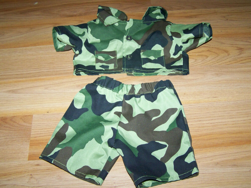 Build a bear workshop babw green camo camouflage military for Green camo shirt outfit