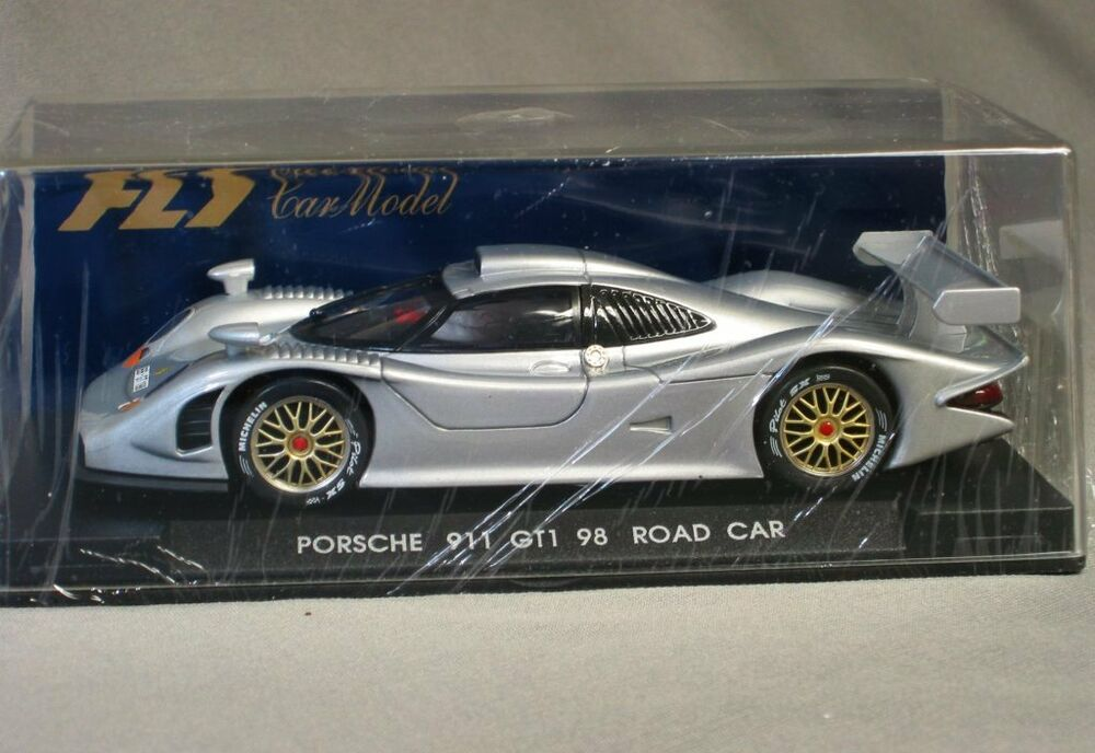 fly 1 32 slotcar porsche 911 gt 1 98 road car silver fly e 71 new ebay. Black Bedroom Furniture Sets. Home Design Ideas