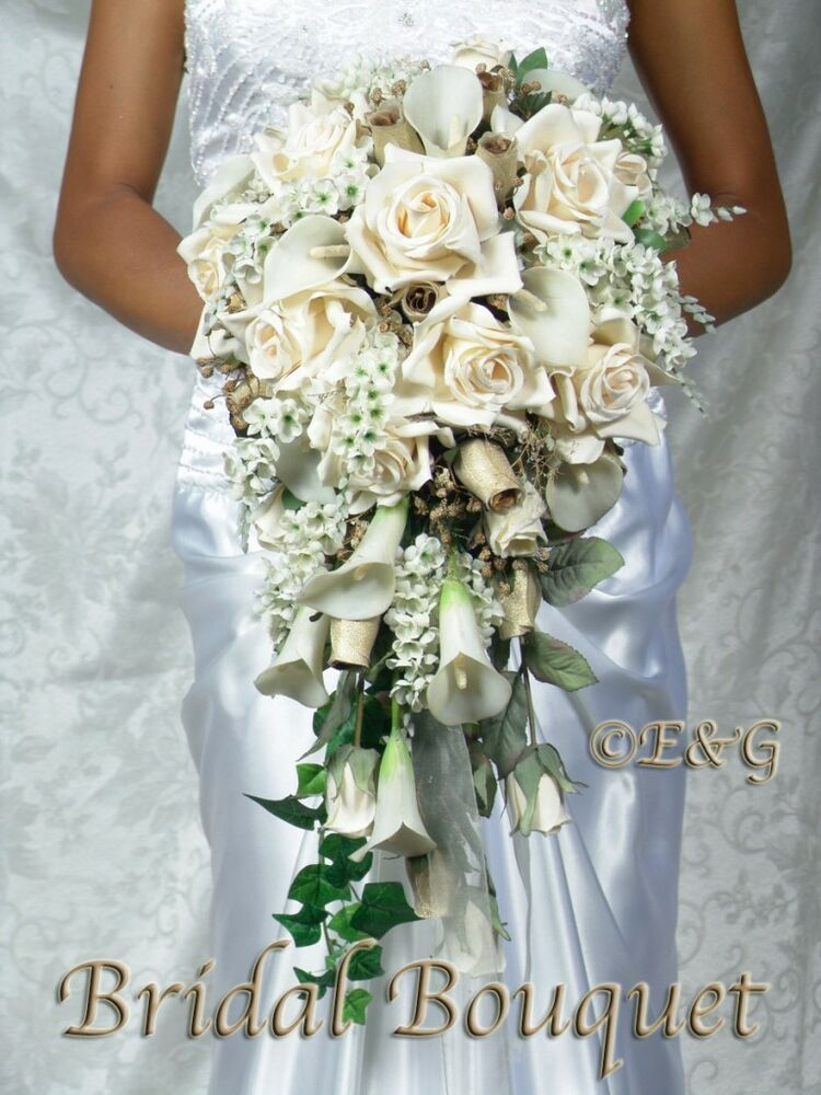 artificial wedding bouquet beautiful gold bouquet wedding bouquets bridal 1381