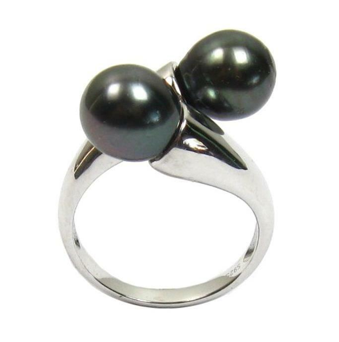 9 10mm tahitian black pearl ring in 925 sterling