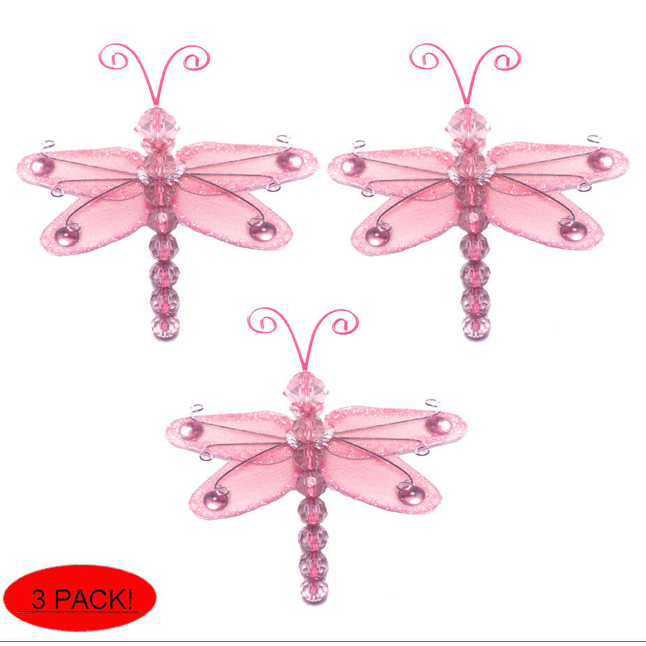 Mini Dragonflies Small Pink Wire Hanging Nylon Dragonfly