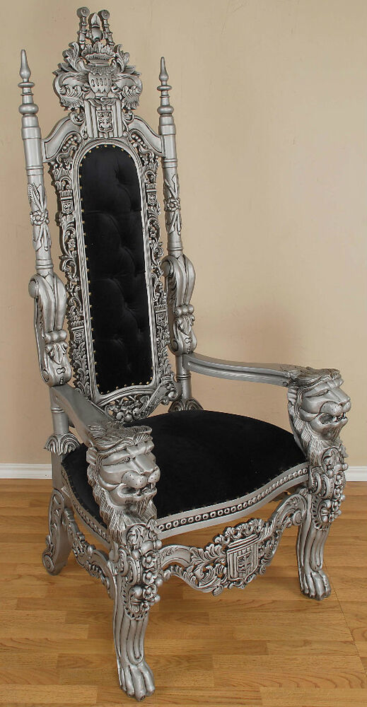 Carved Mahogany Lion Head Gothic Throne Chair King