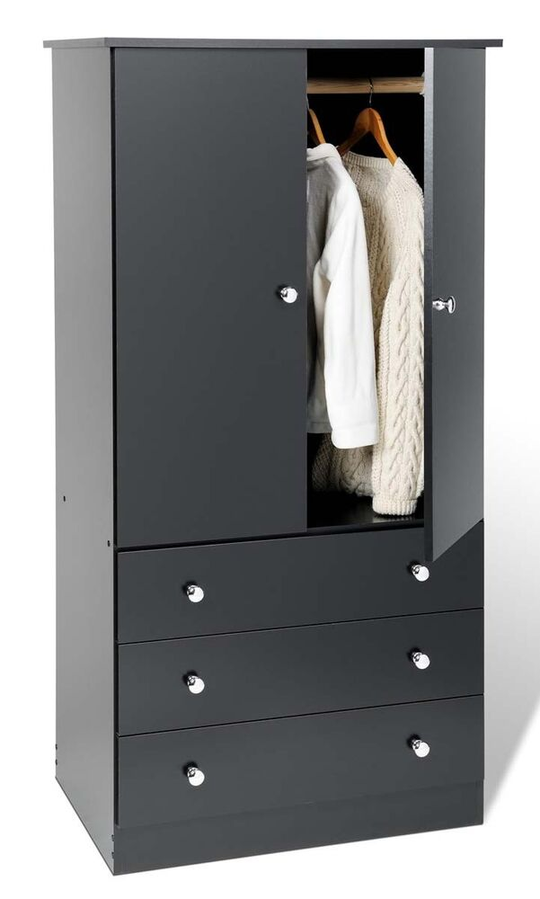 3 Drawer Wardrobe Dresser Chest Armoire Black New Ebay