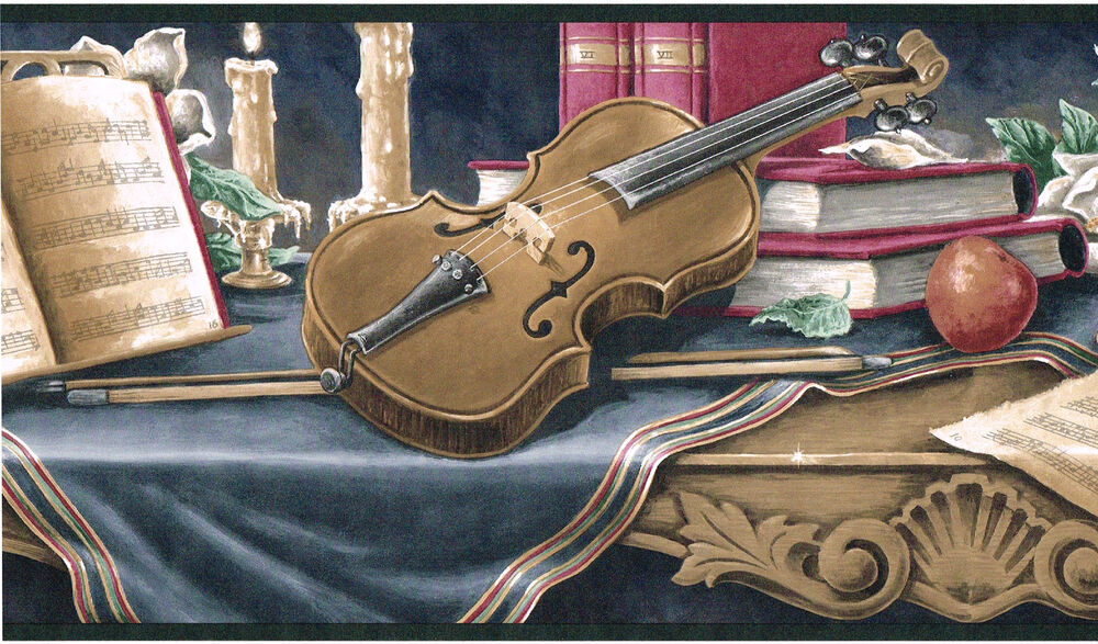 Victorian Vintage Violin Musical Music Book Table Candles