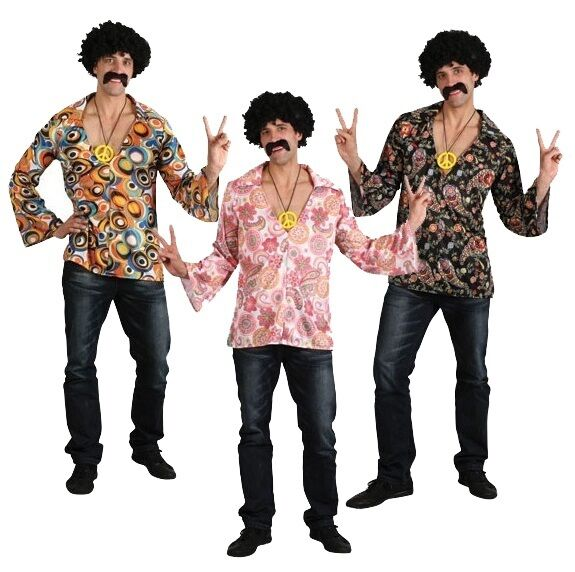 mens adult flower power 60s 70s 1960s hippy hippie fancy dress costume shirt ebay. Black Bedroom Furniture Sets. Home Design Ideas