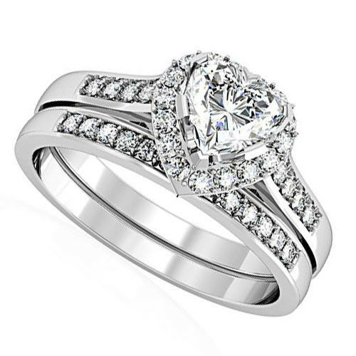 heart shape cz wedding engagement silver rhodium ep