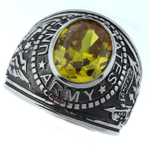 Yellow Topaz Cz Us Army Military Stainless Steel Mens Ring