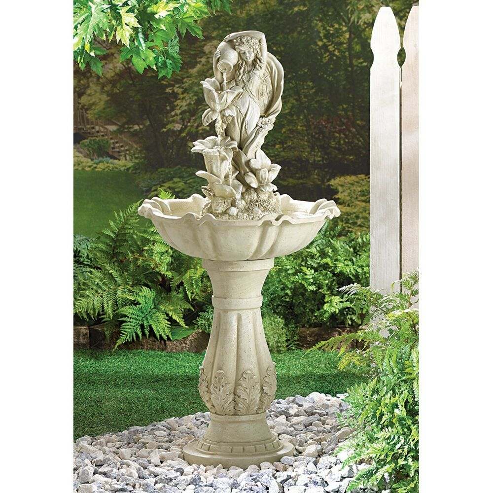Fairy maiden outdoor electric water fountain yard garden for Decorative garden accents