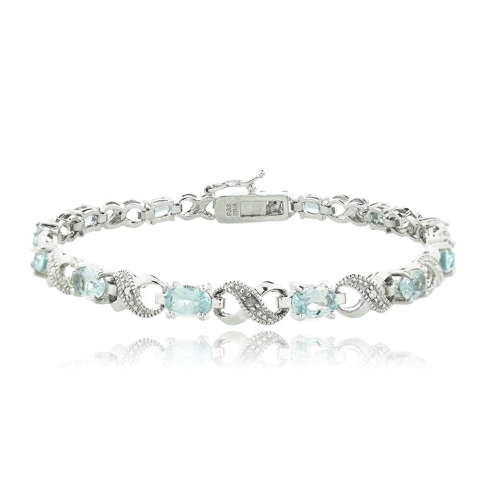 6.6ct TGW Blue Topaz & Diamond Accent Infinity Bracelet In