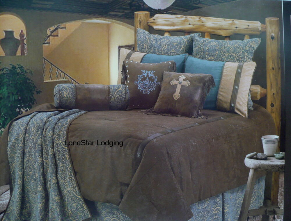 Western Rustic Lodge Brown Turquoise Tooled Paisley ...