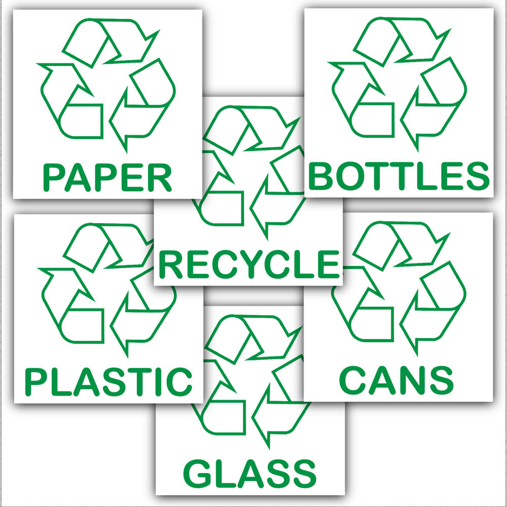 6 X Recycling Stickers Recycle Paper Plastic Cans Bottles