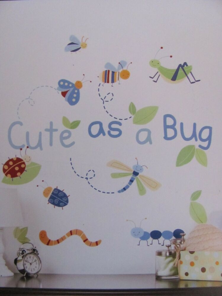 Cute as a bug blue green insects baby boys nursery wall for Baby boy wall mural