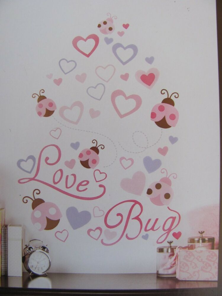 Love bug pink brown lady bug heart baby girls nursery wall for Baby mural stickers